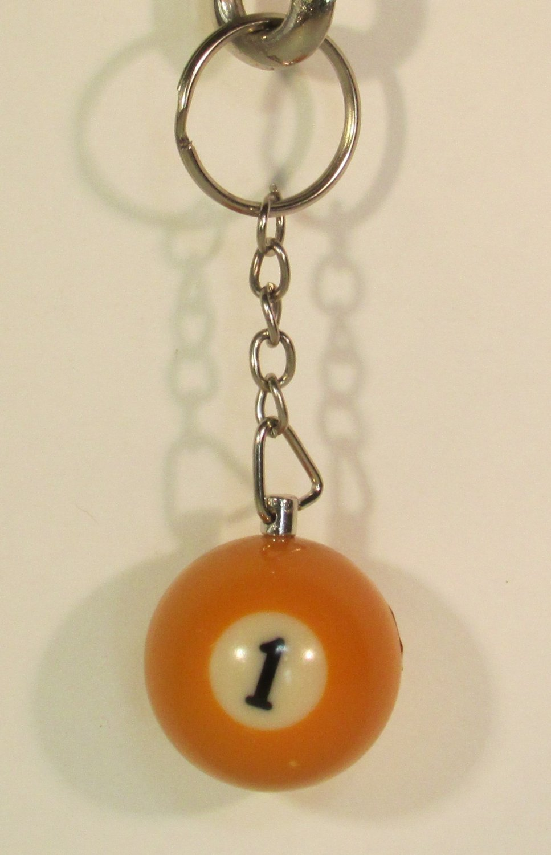 1 Inch Number 1 ONE Mini Billiard Snooker POOL BALL Key Chain Ring Keychain NEW