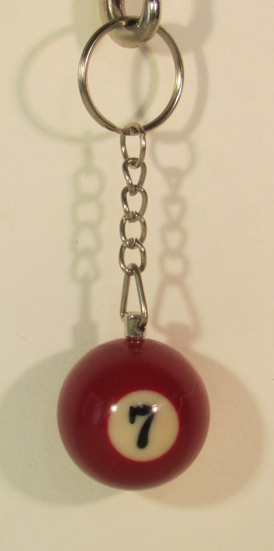1 Inch Number 7 SEVEN Mini Billiard Snooker POOL BALL Key Chain Ring Keychain NEW