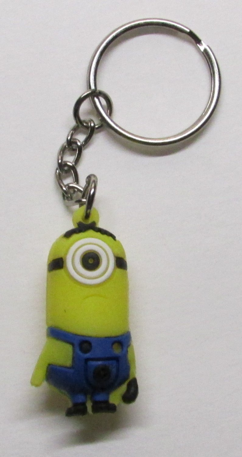CARL the MINION Despicable Me Silicone Rubber KEY CHAIN Ring Keychain NEW