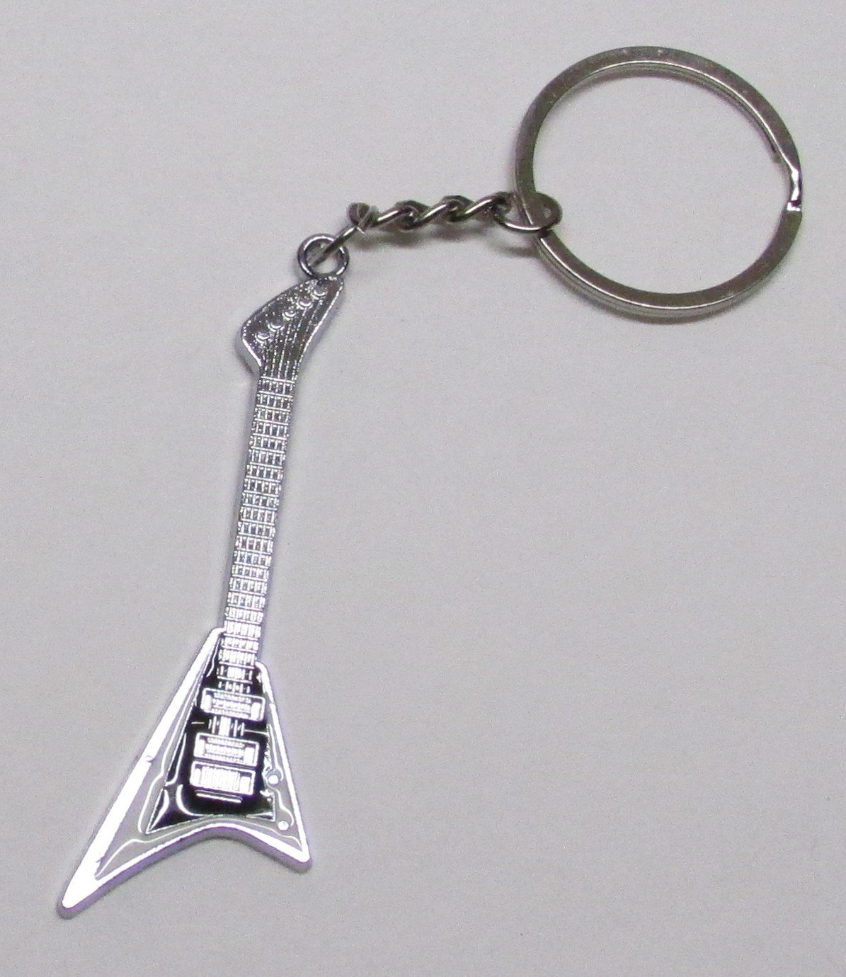 FLYING V White Electric GUITAR Metal Alloy KEY CHAIN Ring Keychain NEW