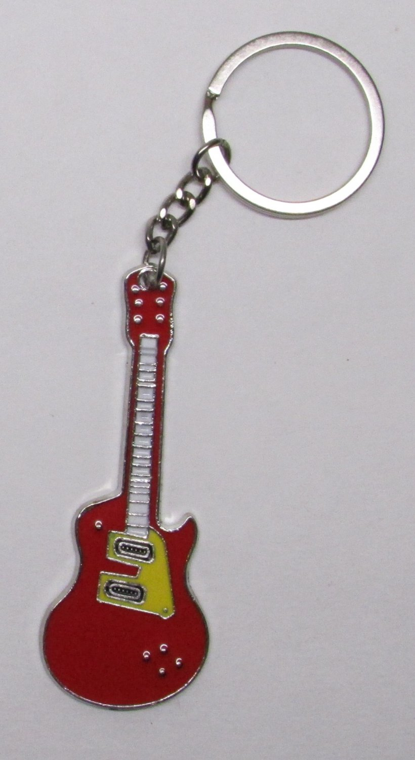 Electric GUITAR Red Metal Alloy KEY CHAIN Ring Keychain NEW