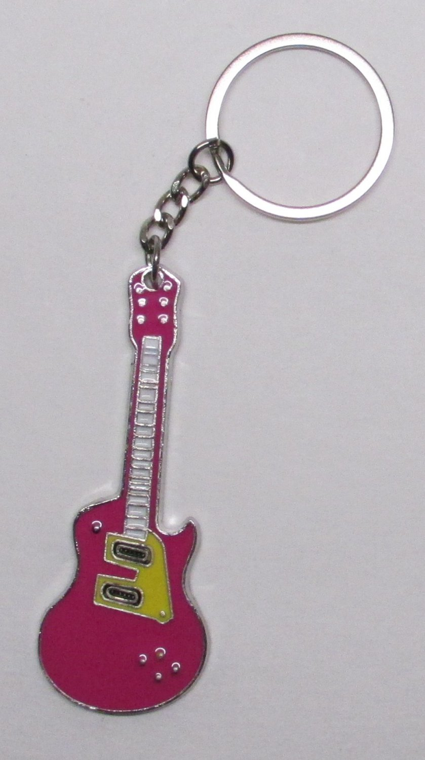 Electric GUITAR Magenta Metal Alloy KEY CHAIN Ring Keychain NEW
