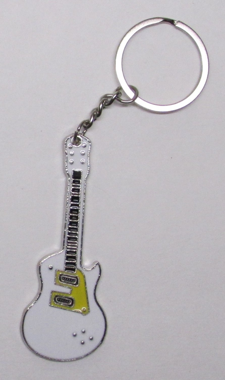 Electric GUITAR White Metal Alloy KEY CHAIN Ring Keychain NEW