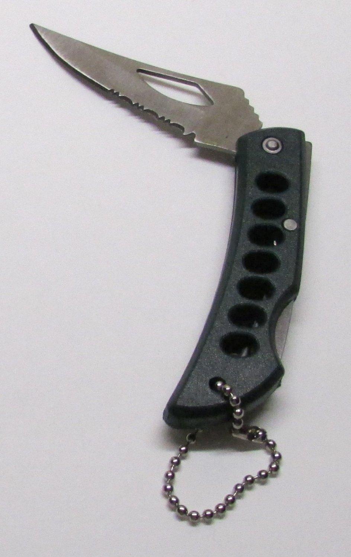 Lockback GREEN Mini FOLDING KNIFE Stainless Steel KEY CHAIN Ring Keychain NEW