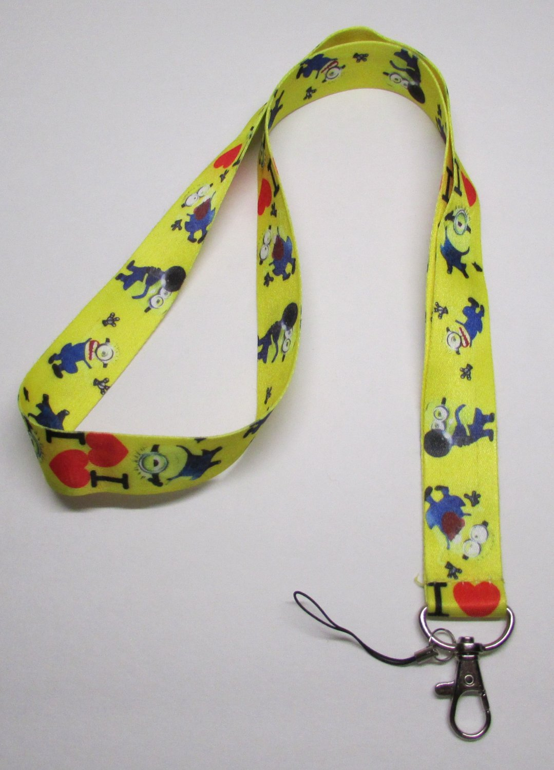 I Love MINIONs Despicable Me LANYARD KEY CHAIN Ring Keychain ID Holder NEW