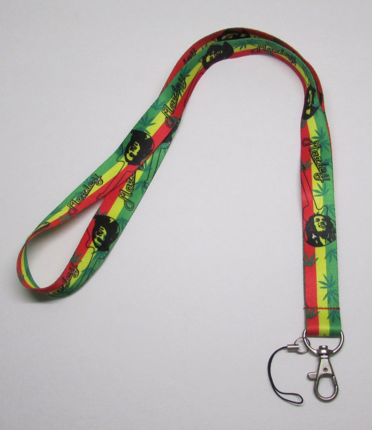 BOB MARLEY Marijuana Leaf LANYARD KEY CHAIN Ring Keychain ID Holder NEW