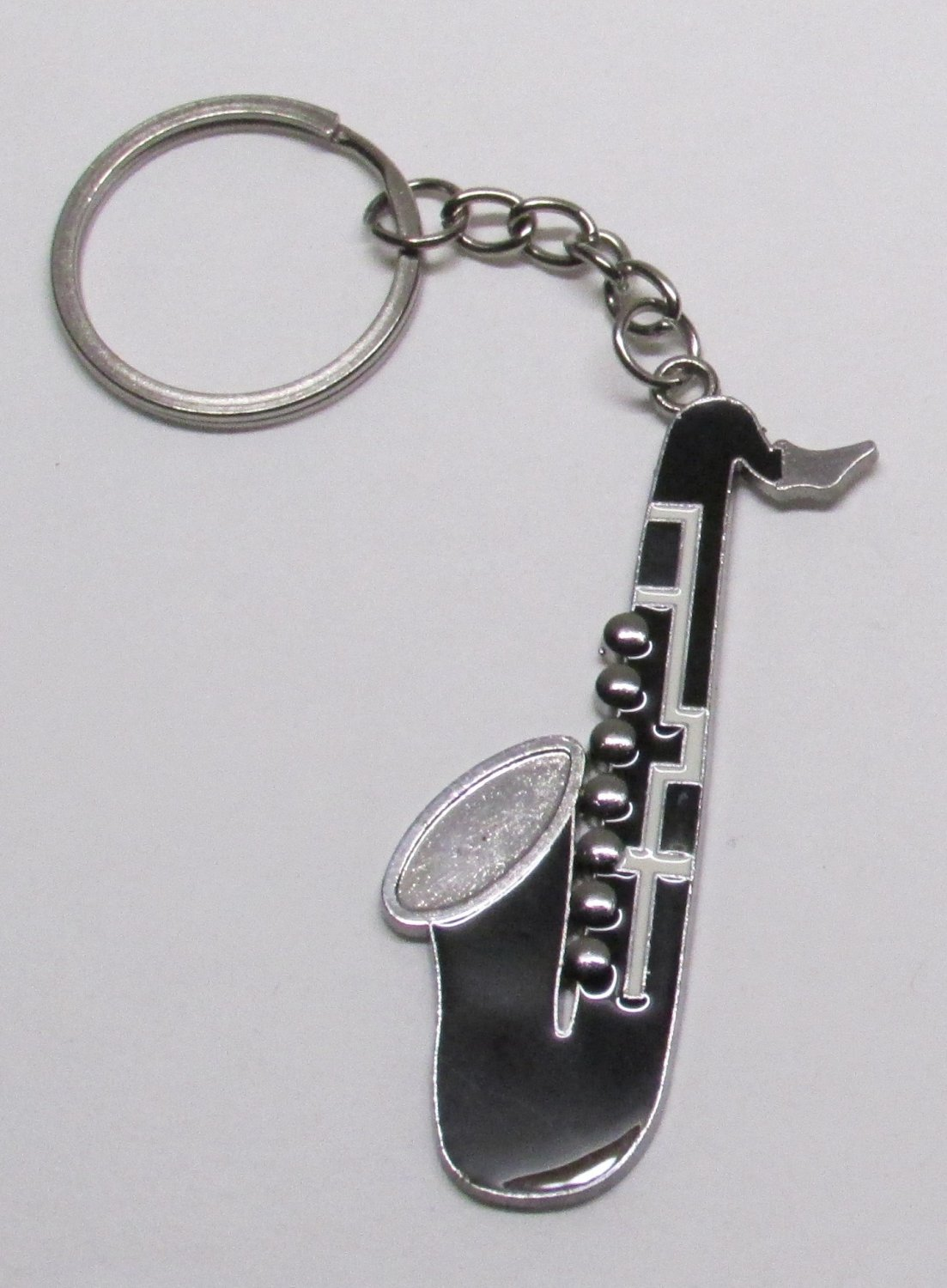 SAXOPHONE Black Silver Plated Metal Alloy KEY CHAIN Ring Keychain NEW