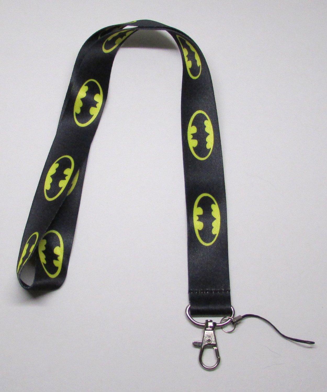 Black BATMAN LANYARD KEY CHAIN Ring Keychain ID Holder NEW