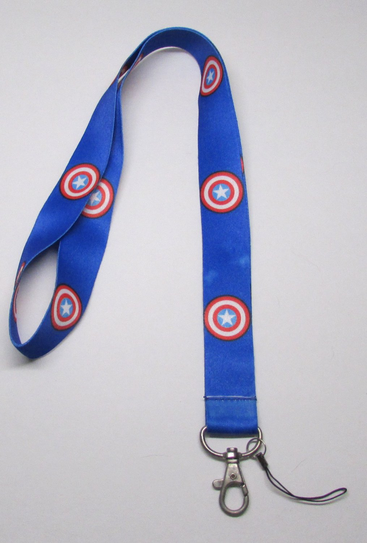 Blue CAPTAIN AMERICA LANYARD KEY CHAIN Ring Keychain ID Holder NEW