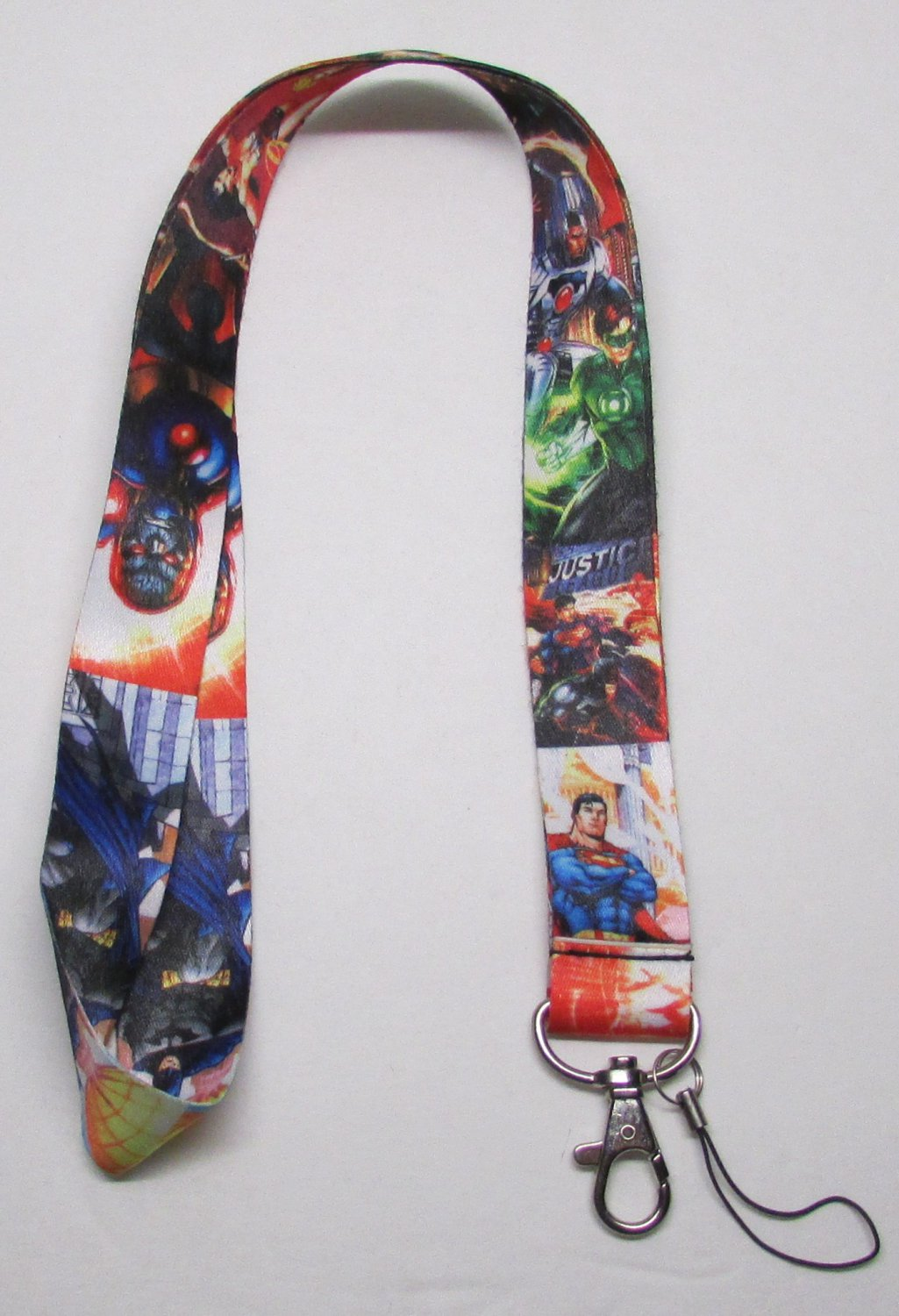 JUSTICE LEAGUE LANYARD KEY CHAIN Ring Keychain ID Holder NEW
