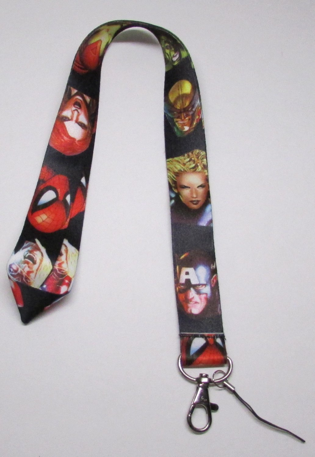 Faces of JUSTICE LEAGUE Black LANYARD KEY CHAIN Ring Keychain ID Holder NEW