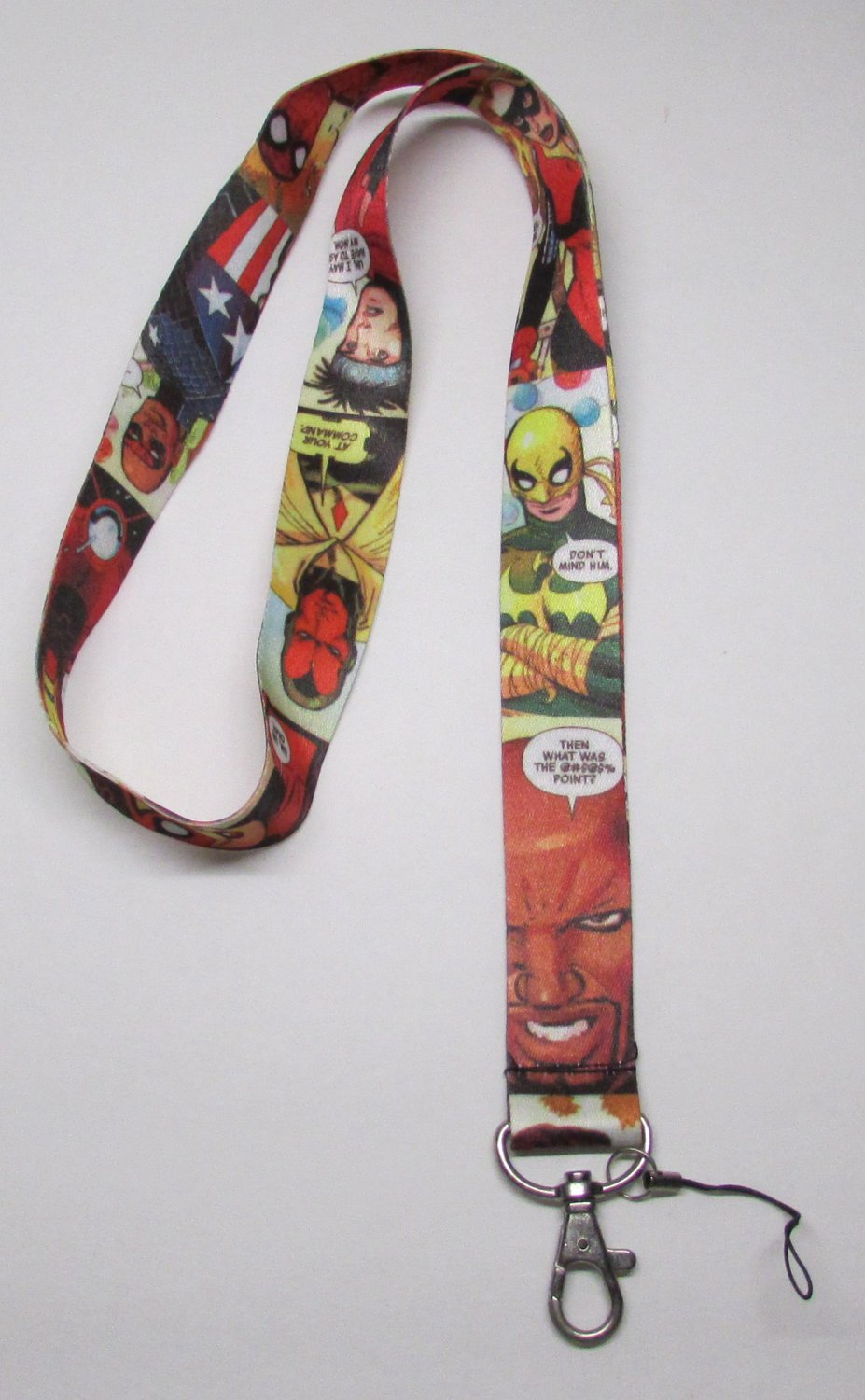Comic Book Style LANYARD KEY CHAIN Ring Keychain ID Holder NEW