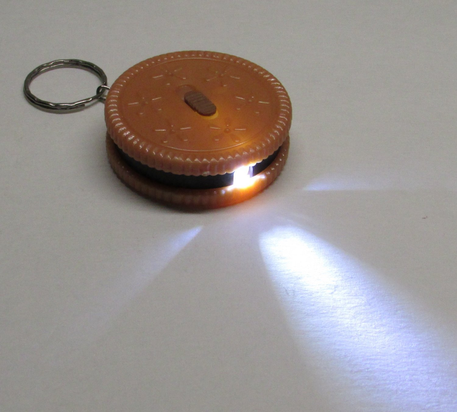 Tan/Black Round COOKIE Biscuit LED Flashlight KEY CHAIN Ring Keychain NEW