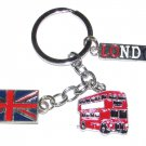 BRITISH Flag Bus Mixed Color London Metal Alloy KEY CHAIN Ring Keychain NEW