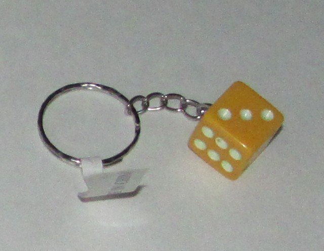 Novelty Gold DIE Dice KEY CHAIN Ring Keychain NEW