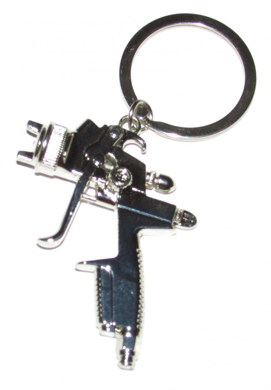 SPRAY PAINT Gun Silver Metal KEY CHAIN Ring Keychain NEW
