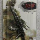 AK47 Rifle Weapon Replica Silver Metal KEY CHAIN Ring Keychain NEW