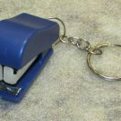 Mini Blue STAPLER School Office for Paper KEY CHAIN Ring Keychain NEW