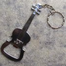 GUITAR Base VIOLIN Silver Metal KEY CHAIN Ring Keychain NEW