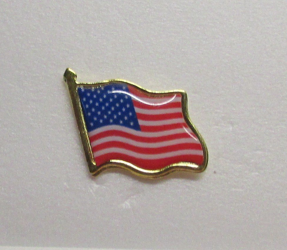 2 pc USA United States AMERICAN FLAG Lapel Hat Tie Tack Pin High Quality NEW