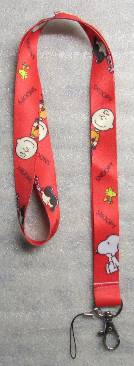 Peanuts SNOOPY Charlie Brown Red LANYARD KEY CHAIN Ring Keychain ID Holder NEW