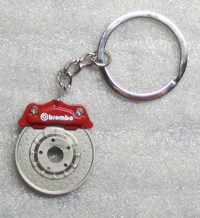 BREMBO Red CALIPER Brake Rotor Disc Metal Alloy KEY CHAIN Ring Keychain NEW