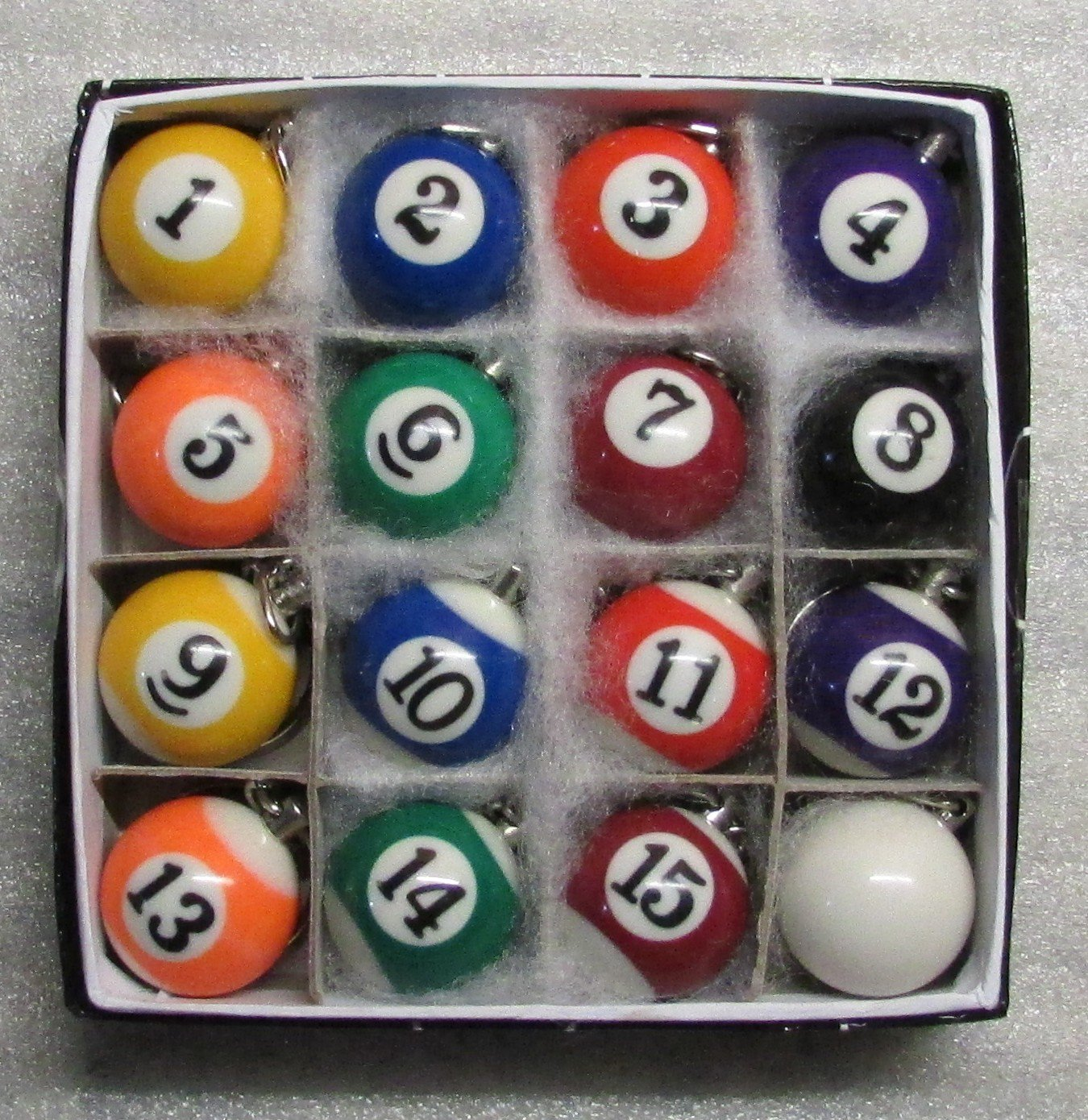 1 Inch w CUE Que Box of 16 Mini Billiard POOL BALL Snooker KEY CHAIN Ring Keychains NEW