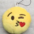 Emoji 3 in HEART Emoticon KISSING Soft Cloth Yellow KEY CHAIN Keychain NEW