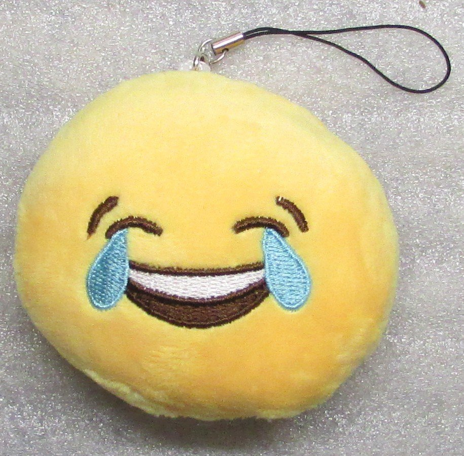 Emoji 3 in CRYING Emoticon SMILING Soft Cloth Yellow KEY CHAIN Keychain NEW