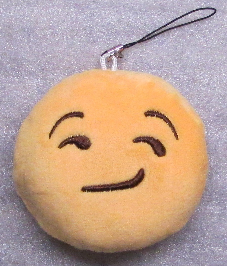 Emoji 3 in SNICKER Emoticon SNICKERING Soft Cloth Yellow KEY CHAIN Keychain NEW