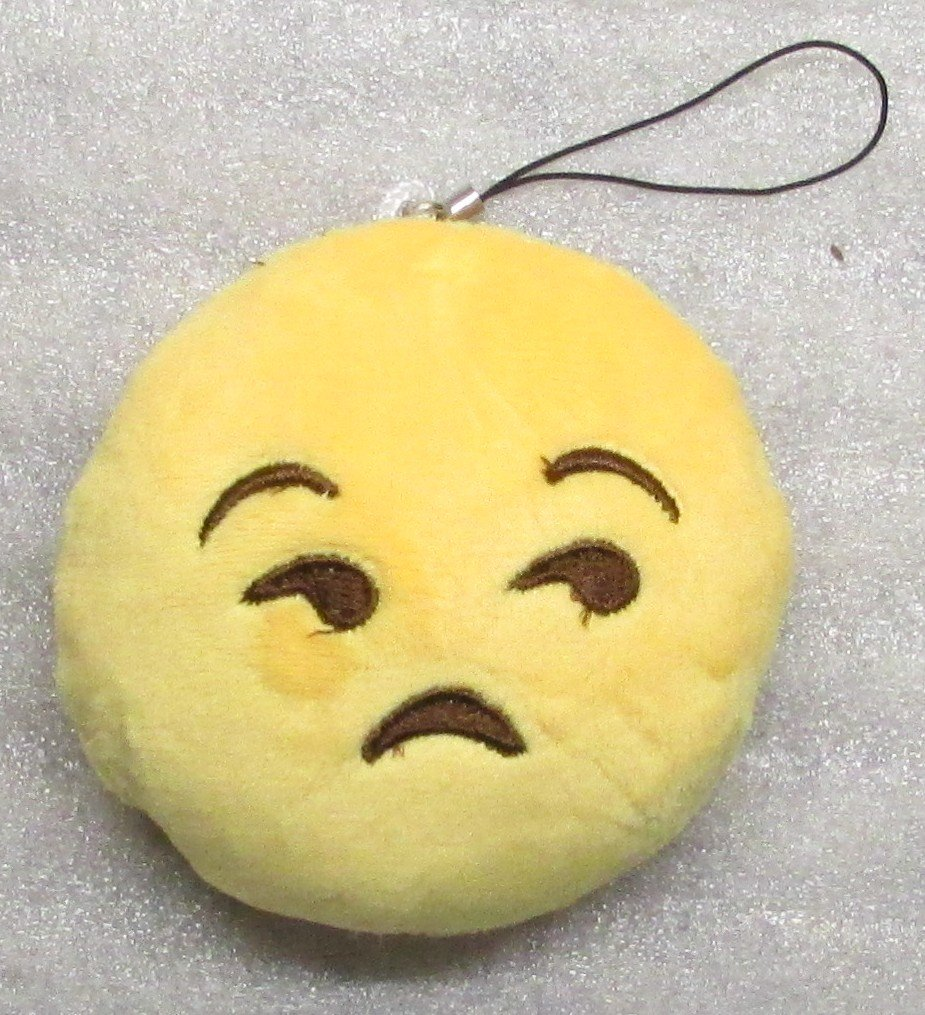 Emoji 3 in SAD Emoticon FROWNING Soft Cloth Yellow KEY CHAIN Keychain NEW