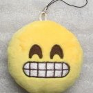 Emoji 3 in SMILEY Emoticon SMILING Soft Cloth Yellow KEY CHAIN Keychain NEW