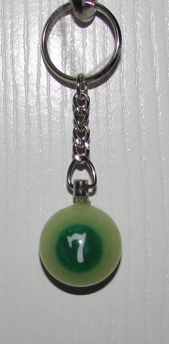 1 Inch Number 7 SEVEN LUMINOUS Mini POOL BALL Billiard Snooker KEYCHAIN Ring NEW