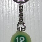 1 Inch Number 12 TWELVE LUMINOUS Mini POOL BALL Billiard KEYCHAIN Ring NEW