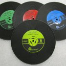 4 PC Vintage Rubber Vinyl Record COASTERS Cup Pad Coffee Table Mats Bar NEW