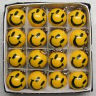 1 Inch Box 16 Mini SMILEY FACE POOL BALLs Billiard KEYCHAIN Ring Key Chains NEW