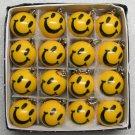 1 Inch Box 16 Mini SMILEY FACE POOL BALLs Billiard KEYCHAIN Ring Key Chains NEW