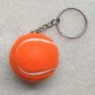 1.25 Inch Orange TENNIS BALL Plush KEY CHAIN Ring Keychain NEW