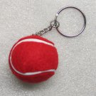 1.25 Inch Red TENNIS BALL Plush KEY CHAIN Ring Keychain NEW