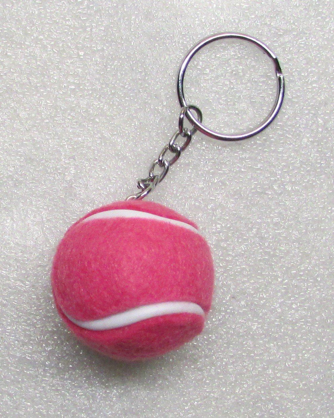 1.25 Inch Rose Red TENNIS BALL Plush KEY CHAIN Ring Keychain NEW