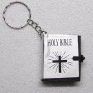 Mini Christian Holy BIBLE SILVER Cover Key Chain Ring Keychain NEW Jesus