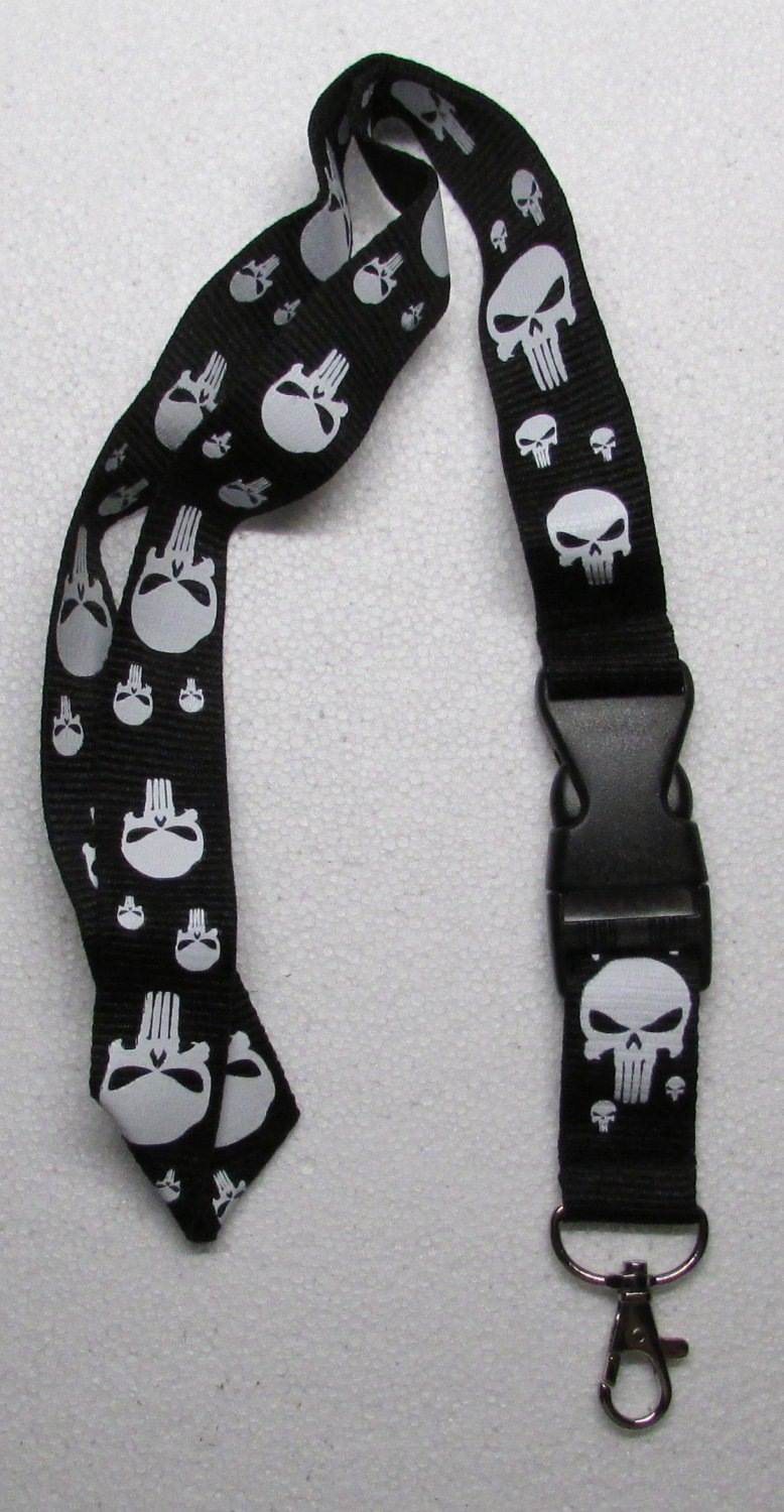Skull NO Crossbones Black/White LANYARD KEY CHAIN Ring Keychain ID Holder NEW