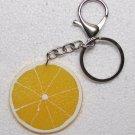 ORANGE Slice Shape Fruit KEY CHAIN Ring Keychain NEW