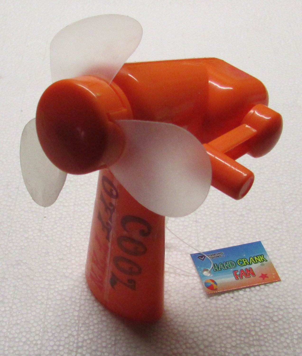 Cool Off Orange Hand Crank FAN by Diamond Visions NEW