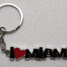 I HEART MIAMI Silver Tone Metal KEY CHAIN Ring Keychain NEW