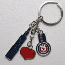 CHICAGO CUBS Sears Tower HEART Silver Tone Metal KEY CHAIN Ring Keychain NEW