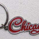CHICAGO Script Silver Tone Metal KEY CHAIN Ring Keychain NEW