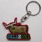 OKLAHOMA LONGHORN Steer Multi Color Rubber KEY CHAIN Ring Keychain NEW