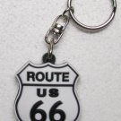 ROUTE US 66 White w Black Highway Sign Rubber KEY CHAIN Ring Keychain NEW