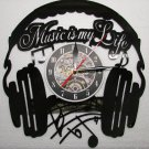MUSIC IS MY LIFE Headphones Vinyl Record Wall CLOCK LED Lights w Remote NEW